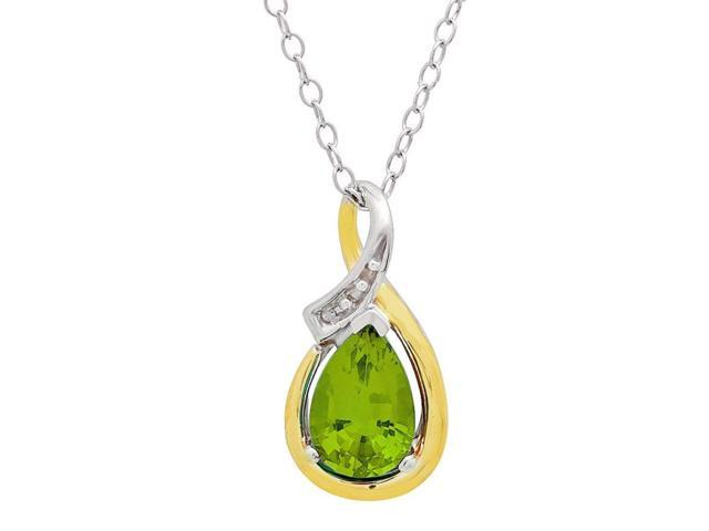 Sterling Silver and 10K Gold Peridot and Diamond Pendant (1ct tw)