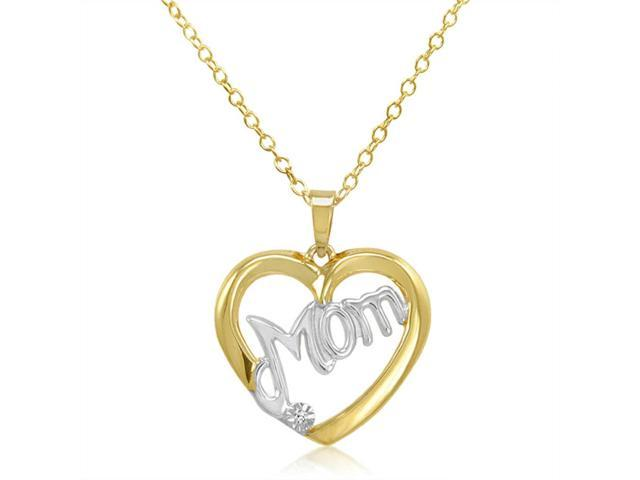 """18"""" Gold and Silver """"Mom"""" Heart Pendant Necklace with Diamond Accent"""