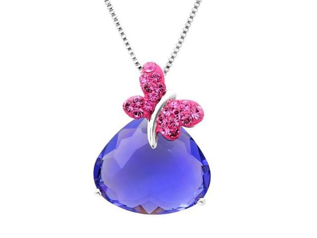 Sterling Silver Crystal Butterfly made with Swarovski Elements Pendant Necklace (18 inch chain)