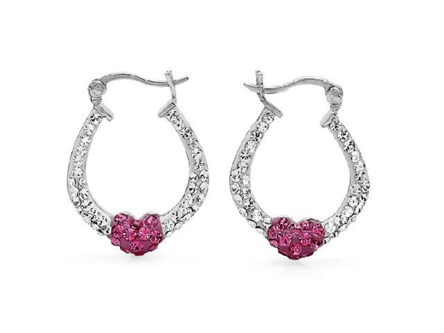 Amanda Rose Collection Sterling Silver Crystal Pink and White Swarovski Elements Hoop Earrings