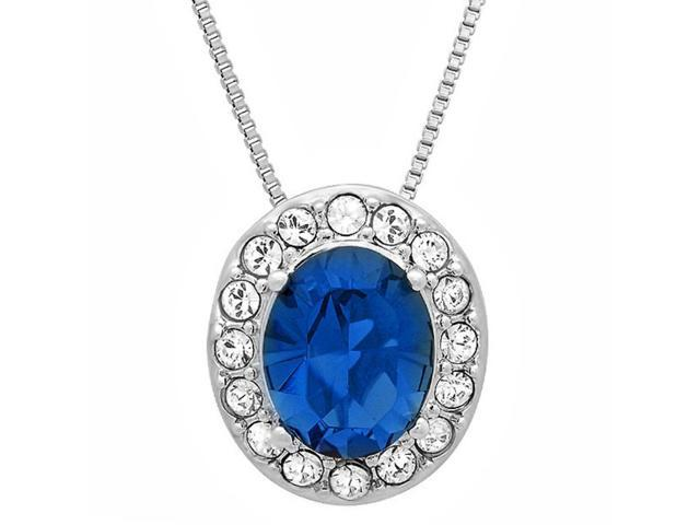 Amanda Rose Sterling Silver Crystal Lady Di Sapphire Blue and White Swarovski Elements Pendant Necklace