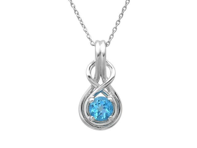 Swiss Blue Topaz Infinity Love Knot Pendant-Necklace in Sterling Silver (1ct tw)
