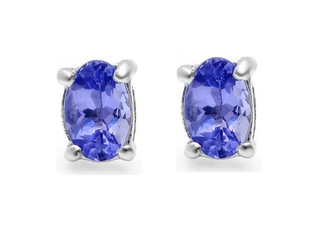 Genuine Oval Tanzanite Stud Earrings in Sterling Silver ( 6 x 4mm .90ct tw)
