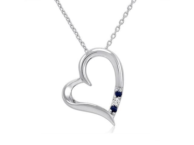 3 Stone Sapphire and Diamond Open Heart Pendant Necklace in Sterling Silver (18
