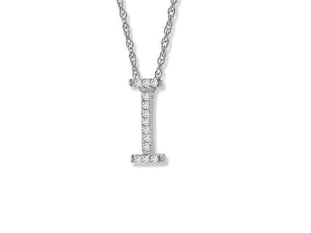 "14K White Gold Diamond ""I"" Initial Pendant on a 16 inch chain"