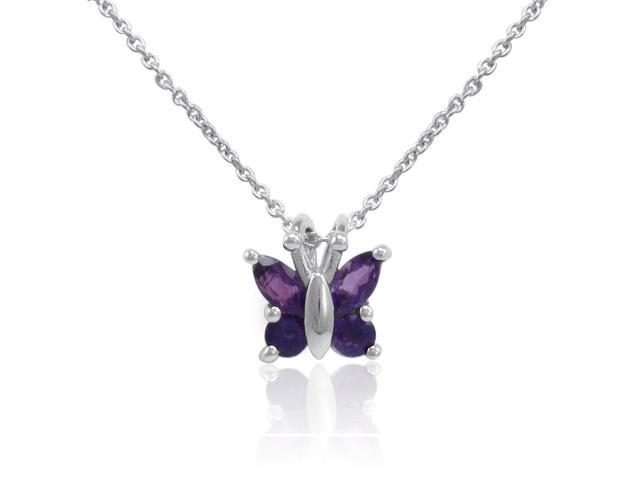 Sterling Silver Amethyst Butterfly Pendant-Necklace on an 18 inch Chain