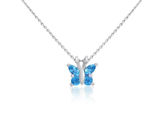 Sterling Silver Swiss Blue Topaz  Butterfly Pendant-Necklace 18