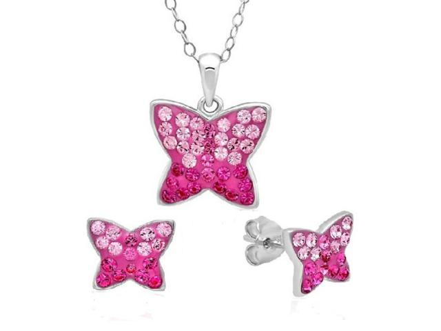 Amanda Rose Collection Sterling Silver Pink Butterfly Necklace made with Swarovski Crystal and Free Matching Earrings