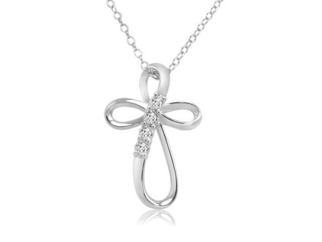 Journey Diamond Infinity Cross Pendant-Necklace in Sterling Silver on an 18 inch Chain