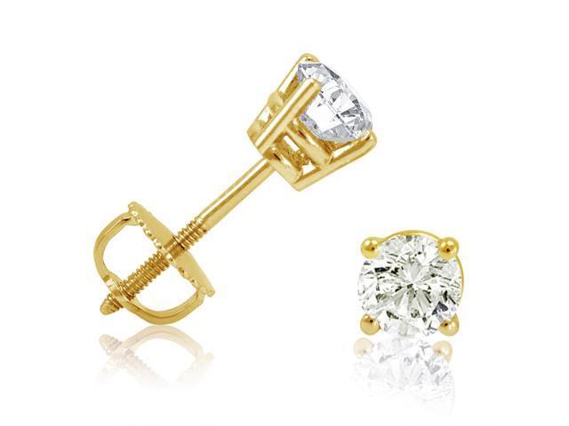 1/2ct Diamond Stud Earrings set in 14K Yellow Gold with Screw-Backs