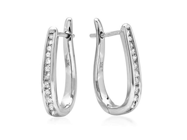 10K White Gold Flip Back Diamond Hoop Earrings ( 1/4ct tw)