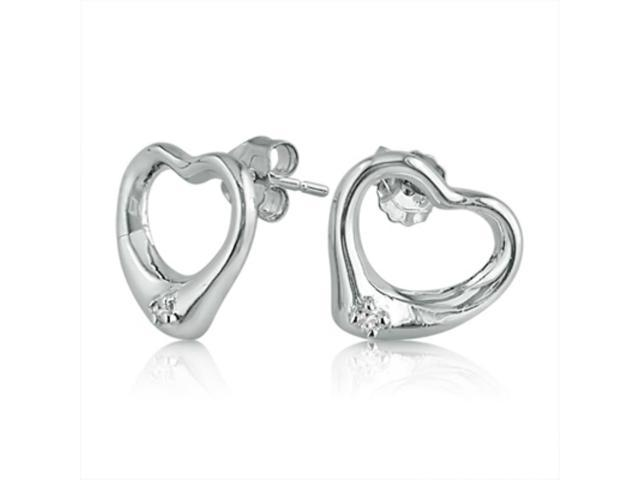 MLG Jewelry Heart Shaped Sterling Silver and Diamond Friction Back Earrings
