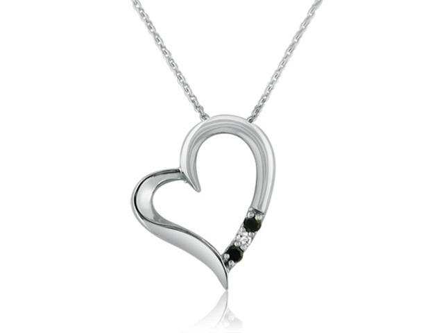 Sterling Silver Black and White Diamond 3 Stone Heart Pendant Necklace - 18inch
