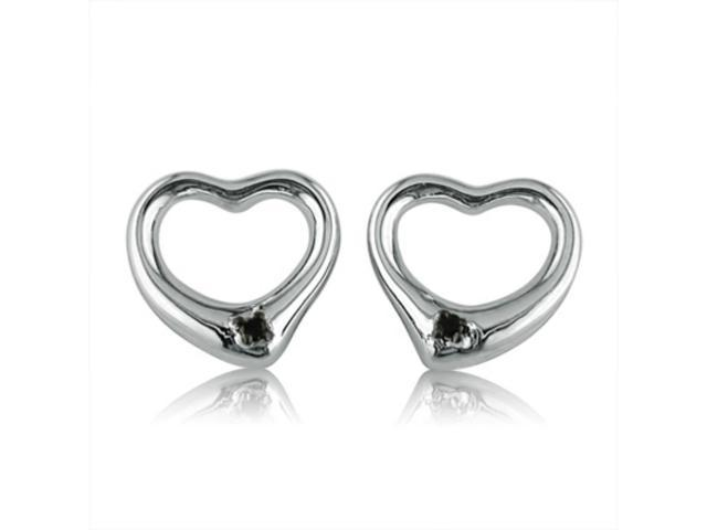 Amanda Rose Collection Open Heart Black Diamond in Sterling Silver Stud Earrings
