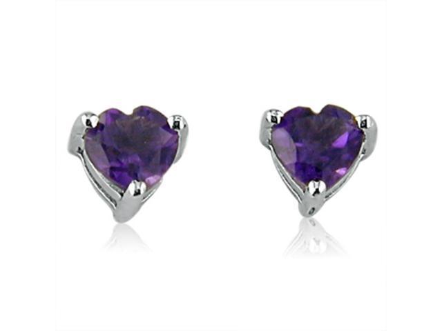 Heart Shape Amethyst  Earrings in Sterling Silver 1 1/2 ct 6mm