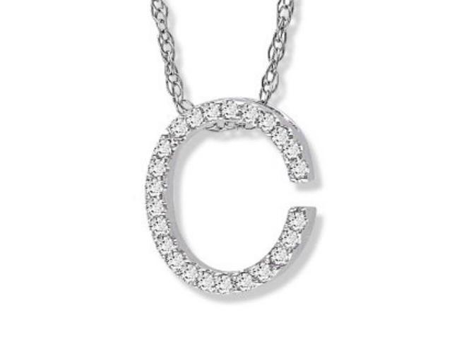 "14K White Gold Diamond ""C"" Initial Pendant, 16"" Necklace"