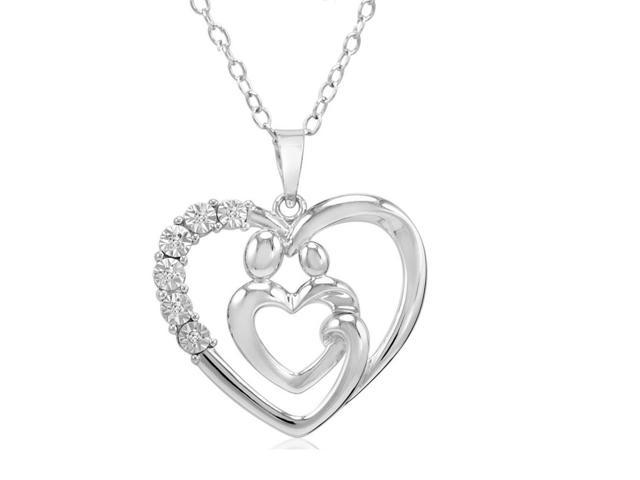 "Amanda Rose Collection by MLG Mother and Child Diamond Heart Sterling Silver Pendant-Necklace with 18"" Chain"