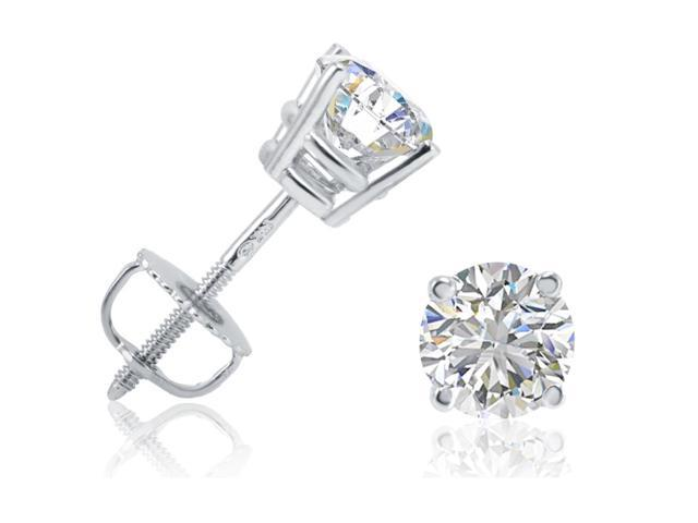 1ct tw Round Diamond Stud Earrings in 14K White Gold with Screw Backs