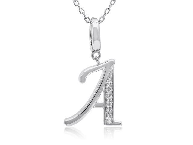 Diamond Initial A Charm Necklace in Sterling Silver  (18in. Sterling Silver Chain)