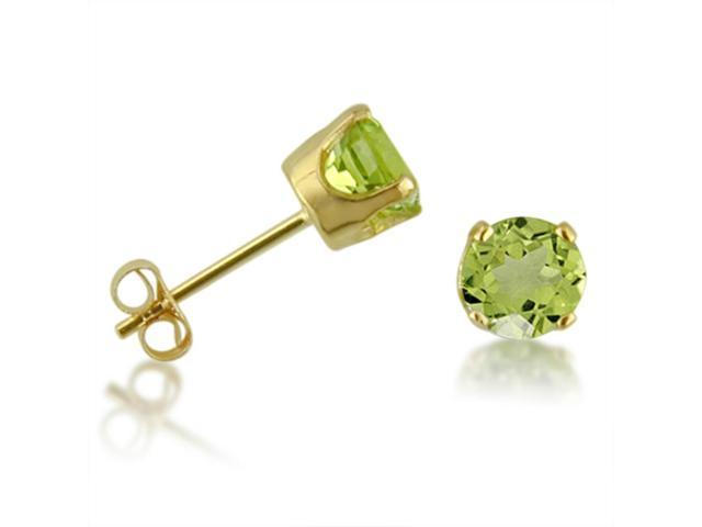 14K Yellow Gold 5mm Round Peridot Stud Earrings