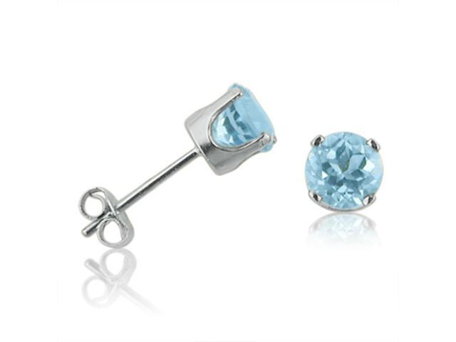14K White Gold 5mm Round Blue Topaz Stud Earrings (1ct tgw)