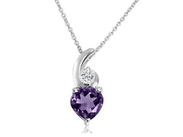 Heart Shape Amethyst and White Topaz Pendant-Necklace in Sterling Silver (1 3/4ct tgw)