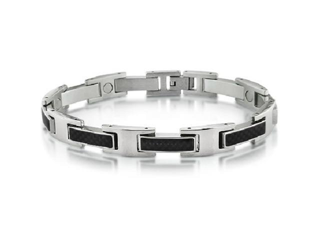 Oxford Ivy Men's Stainless Steel and Carbon Fiber Magnetic Bracelet 8 3/4 inch