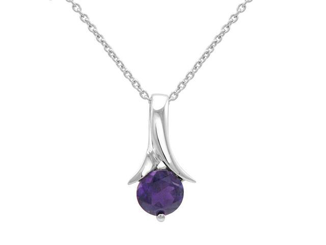 Round Amethyst Solitaire Pendant-Necklace in Sterling Silver 3/4 cttw 18