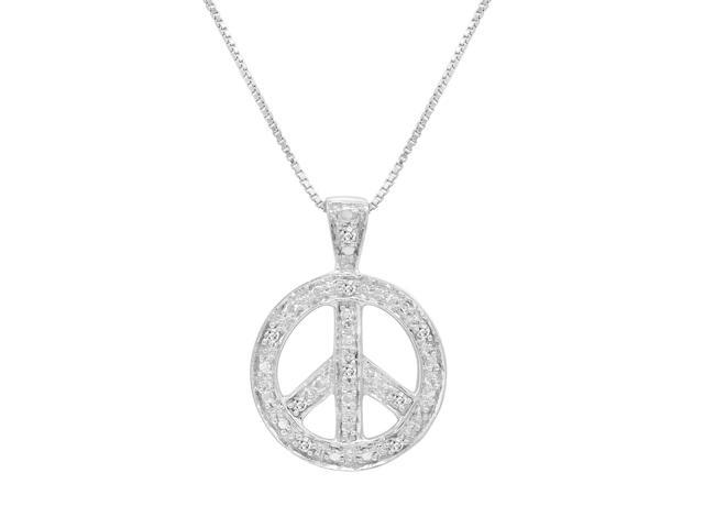 Diamond Peace Sign Pendant-Necklace in Sterling Silver on an 18in Box Chain