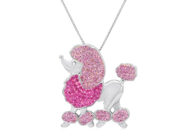 Sterling Silver Poodle Pendant-Necklace made with Swarovski Crystals