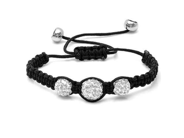 Graduated 10-12mm Triple Crystal Disco Ball Shamballa Bracelet Adjustable from 6 to 9 inches