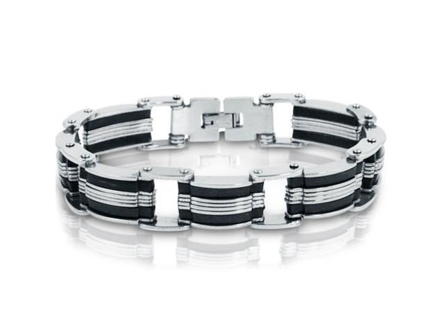 Oxford Ivy GSSB99 8 Inches Men's Stainless Steel with Black Rubber Chain Link Bracelet