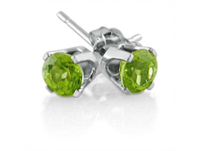14K White Gold Round Peridot Stud Earrings (4 mm 1/2ct tw)