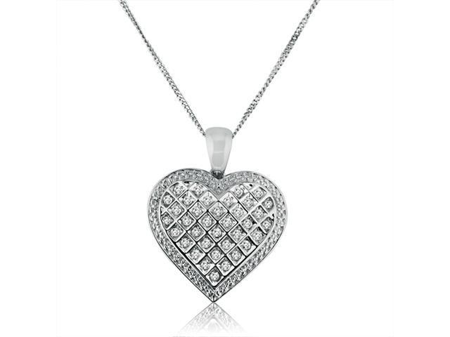 1/2ct Diamond Heart Pendant Set in Sterling Silver on an 18
