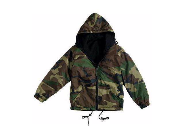 Rothco Woodland Camouflage Reversible Nylon Jacket with Hood