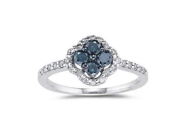 5/8 CTW Blue and White Diamond Flower Ring 10k White Gold