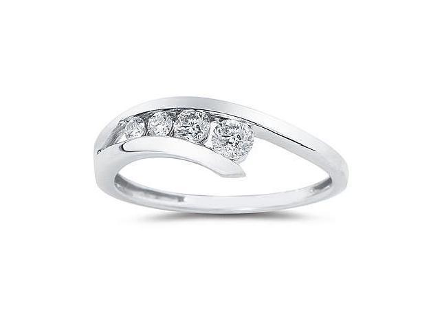 1/4 Carat Diamond Journey Ring In 14K White Gold