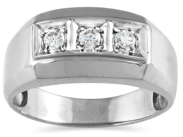 1/4 Carat Men's Three Stone Round Diamond Ring in 10K White Gold