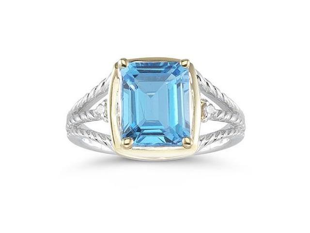 4.5ct Blue Topaz And Diamond Ring in 14K Yellow Gold And Silver