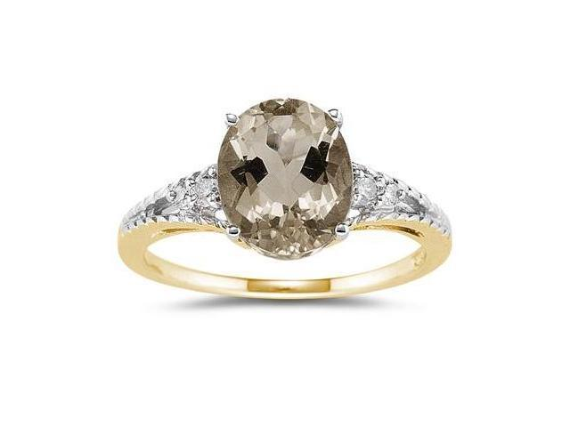 Oval Cut Smokey Quartz & Diamond Ring in 14k Yellow Gold