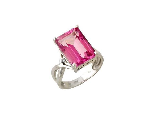 Emerald Cut Pink Topaz and Diamond Ring