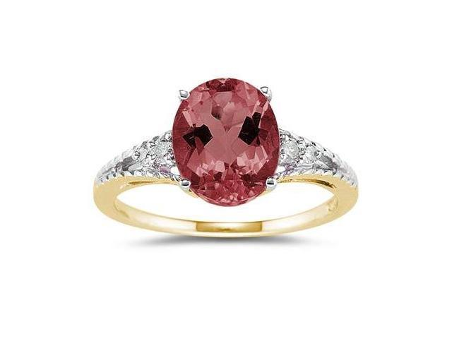 Oval Cut Garnet & Diamond Ring in 14k Yellow Gold