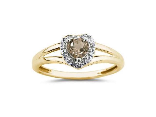 Heart Shaped Smokey Quartz and Diamond Ring