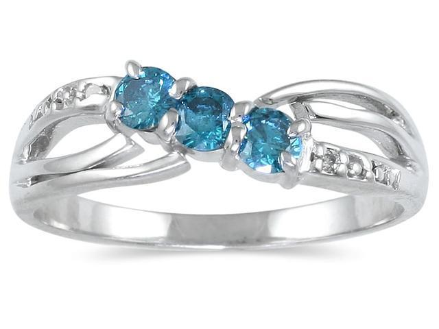 Three Stone Blue Diamond Ring in 14K White Gold