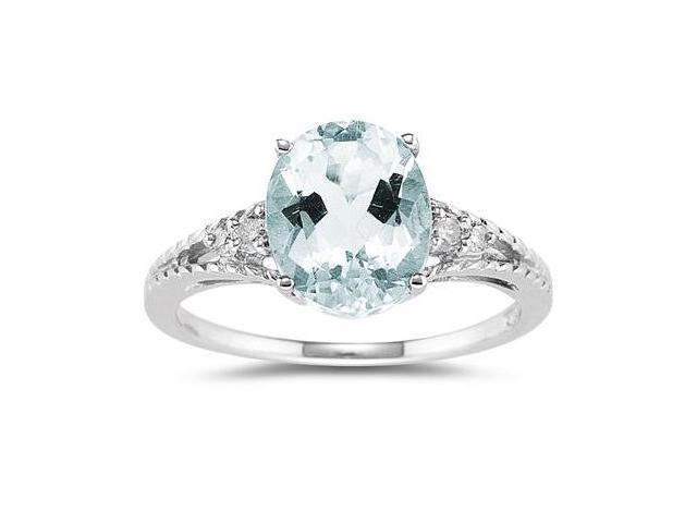 Oval Cut Aquamarine & Diamond Ring in 14k White Gold
