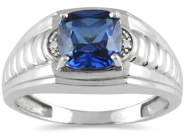 Men's Created Sapphire and Diamond Ring in 10K White Gold