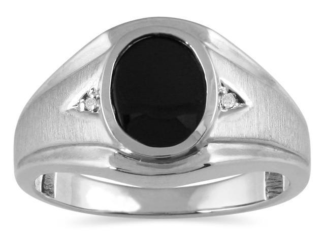 Men's Onyx and Diamond Ring in 10K White Gold