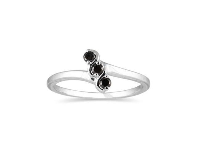Three Stone Black Diamond Ring White Gold