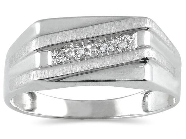 Men's Diamond Ring in 10K White Gold