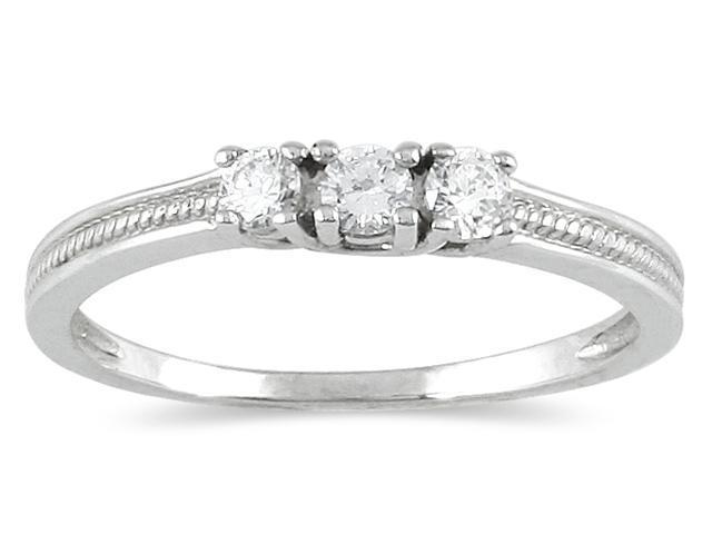 1/4 Carat Diamond 3 stone Ring in 10K White Gold